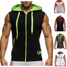 Wholesale V Neck Undershirts - Wholesale- New Men Hoodie Brand Sweatshirts Workout Man Sleeveless Tees Shirt Cotton Vest Singlets Hooded Undershirt Male