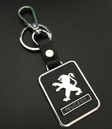 Wholesale Peugeot Leather - 1pcs Car Keychain Leather Keyrings Key Hold Emblems Auto Parts accessories for Peugeot 301 307 308 408 808