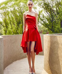 Wholesale Dresses Appliques Feather Taffeta - Red Dresses Short Sweetheart Asymmetrical Dresses 2016 Evening Short Sexy Celebrity Dresses Formal Wear Online Cocktail Party Attire