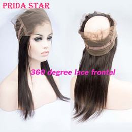 """Wholesale X2 Chinese - Prida Star 22""""x4""""x2"""" Peruvian Virgin Hair 360 Degree Lace Frontal With Adjustable Strap Straight Hair 360 Lace Frontal Closure"""