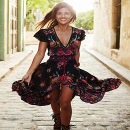 Wholesale Tropical Floor Length Dress - Women 's printing V - neck dress skirt Europe and the United States dress 2016 new arrival womens V neck summer tropical flower long dress