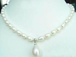 Wholesale White Akoya Cultured Pearl Necklace - 7-9mm White Akoya Cultured Pearl & Shell Pendant Necklace 17.5""