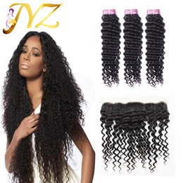 Wholesale Wholesale Lace Frontals - Peruvian Virgin Hair with frontal human hair bundles with lace frontal top quality human hair peruvian deep wave with ear to ear frontals