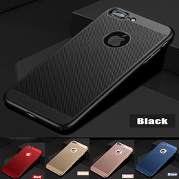 Wholesale Mesh Iphone Cover - For iPhone X Case Full Back Cover Case With Mesh Hole Heat Emission Hole Coverage Hard PC Hybird ShockProof Case For iPhone 8 Plus 7 6S 5 5S