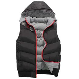 Wholesale Hooded Vest Thick - new 2017 High Quality Famous Brand Mens Hooded Cotton vest sports vests Fashion Winter Warm vests coat jacket XL-4XL