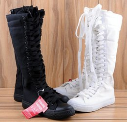 Wholesale Knee High Lace Up - 2017 New Women Boots Canvas Lace Up Knee High Boots Women motorcycle boots Flat Casual Tall Punk Shoes woman