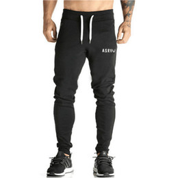 Wholesale Black Fitness Pants - 2017 Men Gyms Pants Casual Elastic cotton Mens Fitness Workout Pants skinny,Sweatpants Trousers Jogger Pants M-XXL