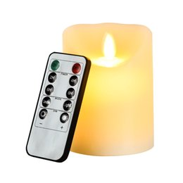 Wholesale Yellow Pillar Candles - LED electronic flameless candle lights+10 keys remote control large DIA simulation candle lamp pary wedding birthday festival