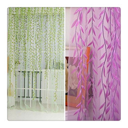 Wholesale Voile Curtains Scarf - 2016 Hot Tulle Catkins Door Balcony Curtain Willow Pattern Voile Sheer Curtains Scarfs Window Screens Valance For Bed Living Room DHL