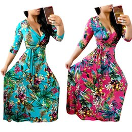 Wholesale Party Dress Patterns For Ladies - 2017 New Printed Pattern A line Long Casual Maxi Dresses for Women 3 4 Sleeves V Neck Fashion Floor Length Lady Party Dress 2XL High Quality