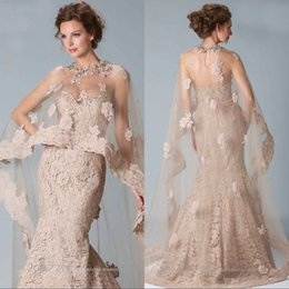 prom dress cover jacket 2018 - 2018 Champagne Lace Mermaid Evening Dresses With Sheer Wraps Jacket Beaded Appliques Formal Evening Gowns Tulle Prom Cloak Pageant Dresses