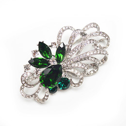 Wholesale Flower Imports - Wholesale- new arrival imported crystal flower brooch luxury green brooches and pins shining fashion jewelry women's coat decorations gift