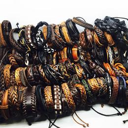 Wholesale Handmade Surfer Bracelets - 2017 handmade black brown men's vintage Genuine Leather surfer jewelry cuff bracelets wholesale lots brand new