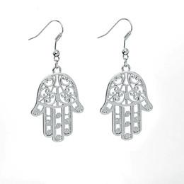 Wholesale Wholesale Hamsa Earrings - Free shipping Fashion Jewelry New Arrivals Charm Drop Earrings For Women Hamsa Hand Fatima Palm Dangle