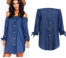 Wholesale Cotton Tube Top Summer Dress - Fashion Tube Top sexy long - sleeved cowboy bow dress 0075