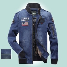 Wholesale Men Long Sleeve Epaulets - New Autumn Men's Denim Jacket Men Jeans Slim Fit Jackets And Coats Casual Bomber Jacket Outwear Free Shipping MJ2102