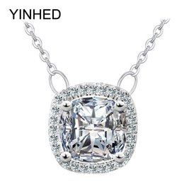Wholesale Cut Diamond Necklace - YINHED 925 Sterling Silver Necklaces Pendants Princess Cut Cubic Zirconia CZ Diamond Jewelry Women Wedding Necklace Gift ZN109