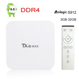 Wholesale Android 2ghz - 3GB DDR4 32GB TX8 Max Amlogic S912 Android 6.0 Bluetooth BT4.1 Smart TV BOX Amlogic S912 Octa Core ARM Cortex-A53 CPU UP To 2GHz