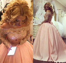Wholesale Off Shoulder Quinceanera Dresses - 2018 Pink Ball Gown Princess Quinceanera Dresses Off Shoulder Long Sleeves Appliques Lace Vestidos de 15 anos Puffy Satin Prom Gowns Custom