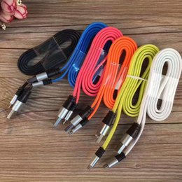 Wholesale V8 Charger Noodle - Big noodle cable 1M 3Ft aluminium alloy sync data charger cord for Samsung Android HTC Blackberry Tablet micro usb V8
