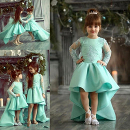 Wholesale Turquoise Dresses For Girls - Turquoise High Low Girls Pageant Gowns Lace Appliques Sheer Long Sleeves Flower Girl Dresses For Wedding Baby Birthday Party Dress