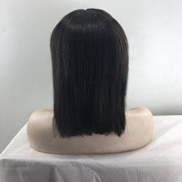 Wholesale Long Bob Cut Wigs - straight hair cut wig unprocessed virgin brazilian hair silky straight glueless full lace wigs with bangs human hair lace front bob wigs