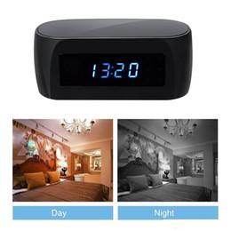 Wholesale Nanny Cam Clocks - Wifi Clock Spy Camera Full HD 1080P Night Vision digital alarm clock Hidden IP Cam P2P remote monitor Home Security Nanny Cam DVR