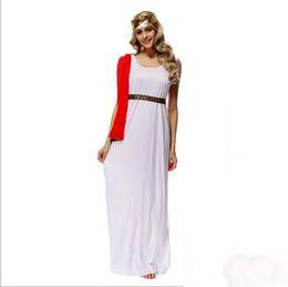 Wholesale Athena Halloween Costume - New Greek Goddess Athena white Long Dress 10Pcs Lot By DHL Sexy Cosplay Halloween Costumes Uniform Temptation Stage Performance Clothing