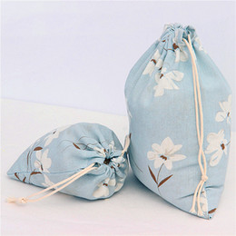 Wholesale Girls Simple Cotton Dresses - While Flowers Print Drawstring Bags For Girl Pop Style Simple Top Quality Cotton Gift Sacks Totes