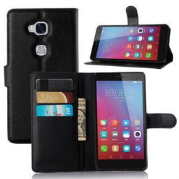 Wholesale Leather Protective Case For Huawei - Fashion PU leather case for huawei Honor 5X GR5 protective cover holder wallet skin shell Lichee phone Flip stand Cases with card pocket