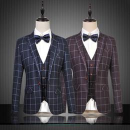 Wholesale Terno Plus Size Masculino - Wholesale- 2016 Plaid Blazers Mens Blue Casual Fashion Suits Terno Masculino Casamento Plus Size 6XL Suit Jackets Bleiser Hombre Purple