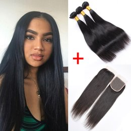 Wholesale Top Brazillian Hair Weave - Top Lace Closure With 3 Bundles Brazilian Human Hair Weaves Malaysian Indian Peruvian Straight Virgin Hair Grade 8A Brazillian Hair Closures