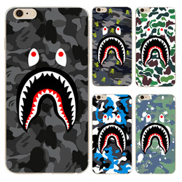 Wholesale Silicone Iphone 4s Covers - Personality cartoon shark mouth teeth camouflage pattern soft TPU case for iphone 6 6s 7 Plus 4s 5c 5s SE transparent phone cover