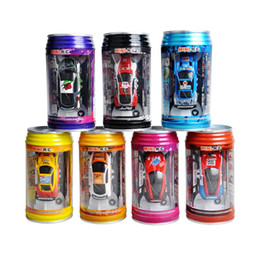 Wholesale Electronic Speed Controls - Wholesale-7 Colors Coke Can High Speed RC Car Radio Remote Control Car Micro Racing Car Toy 4pcs Road Blocks Electronic Kid's Toys Gifts