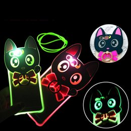 Wholesale Calling Sense Led - Cartoon Lovely Cat Incoming Called Sense LED Flash Light Phone Case Stand Holder Cover For iPhone 5s SE i6 6S Plus 7 7Plus