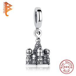 Wholesale Pandora Castle - BELAWANG Authentic 925 Sterling Silver Charm Beads Castle Shape Pendant Fit Pandora Charm Bracelets&Necklace DIY Jewelry Making Wholesale