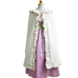 Wholesale Christmas Shawl For Girls - Pure Flower Girl Wedding Shawls Christmas Halloween Costumes For Kids Winter Wear Girl Capes Lovely Accessories Free Shipping