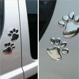 Wholesale Cute Animal Stickers - PVC Cute Pet Animal Footprints Emblem Car Truck Decor 3D Personalized Sticker Decal Free Shipping 10Pairs lots