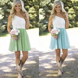 Wholesale Casual Chiffon Navy Dress - Hot Sale 2017 Country Bridesmaid Dresses Short One Shoulder White Lace Mint Green Chiffon Guest Wedding Party Gowns Casual Custom Made