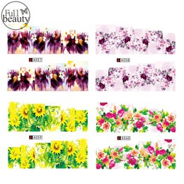 Wholesale Pedicure Stickers - Wholesale- Full Beauty 1 Sheet Full Cover Nail Sticker Flower Water Transfer On Nail Or Pedicure Art Sticker On Finger Nail A057-060