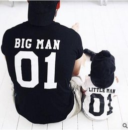 Wholesale Outfits For Baby Boys - INS HOT Family Matching Outfits For Daddy And Son T-shirt Father and Baby Boy Letter short sleeve T-shirt Tees Black and White Tops