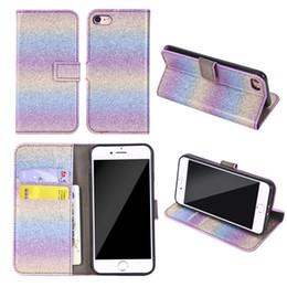 2019 bling glitter handy fall Bling Glitter Wallet Ledertasche Fashion Rainbow Gradient Kartenständer Handy Skin Cover für iPhone X 8 7 6 6S Plus Sumsung S7 S8 S9 Plus günstig bling glitter handy fall