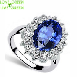 Wholesale Wedding Jewelry Sets Royal Blue - Wholesale- 2017 Valentines gifts zircon Wholesale fashion brand Royal Blue William Kate Queen wedding Austrian Crystal Ring jewelry 8585