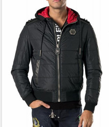 Wholesale Diamond Denim Jacket - 2016 new men 's casual cotton hooded high - end leather stitching hit color men' s cotton down jacket -- PV24