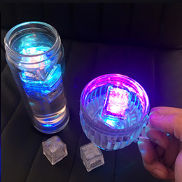 Wholesale Artificial Ice - LED Ice Cubes Lights Aoto colors Mini Romantic Luminous Cube LED Artificial Ice Cube Flash Light Wedding Christmas Party Decoration lamp