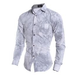 Wholesale Men Dress Shirts Purple Xxl - Wholesale- 2015 new 3d printed men casual shirt long sleeved male dress shirts 2 color M L XL XXL CCL43