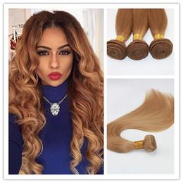 2019 cheveux remy couleur blonde Couleur 27 Fraise Blonde Cheveux Tisse Brésilienne Droite Extensions de Cheveux Humains Remy Cheveux Bundles 100G / Pièce cheveux remy couleur blonde pas cher