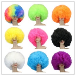 Wholesale Man Wigs - 200 g 12 Colors Women Men Children High Quality Short Culry Dance Party Cosplay Cosume Ball Fans Halloween Pink Black Purple Beige Afro Wigs
