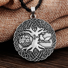 Wholesale Celtic Knot Pendant Wholesale - Wholesale-1pcs Norse Vikings Knot Amulet Pendant Necklace Soldiers Raven Tree of Life PENDANT Necklace Nordic Talisman