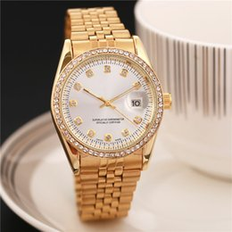 Wholesale Watch Lady Crystal - Hot Sale! Top Quality Women Watches Luxury Steel Full Rhinestone Wrist Watch Lady Crystal Dress Watches Gold Female Quartz Watch